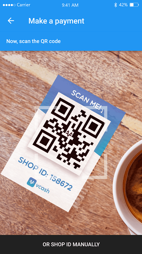 Pay with phone by scanning QR code